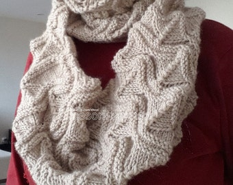 Knitting Infinity Scarf, Knit Scarves, Beige Infinity Scarf, Wrap Scarf, Women Scarf