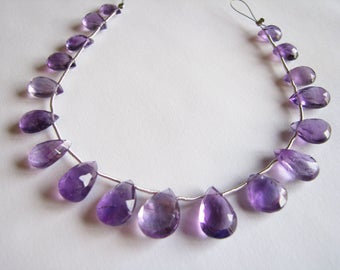 Purple Amethyst faceted pear briolettes, 7.5 inch strand, 18 beads 8.5-14.5mm (w124a)