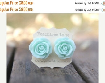 SALE Large Mint Seafoam Green Rose Flower Earrings // Bridesmaid Gifts // Outdoor Rustic Wedding // Bridal Shower Gifts