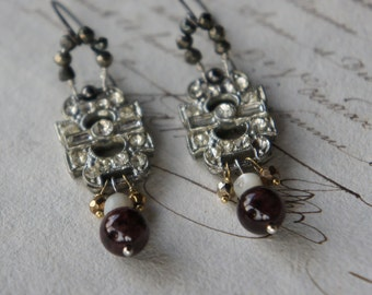 Antique Assemblage Earrings with Vintage Rhinestone Links, Pyrite, Mother of Pearl and Garnets