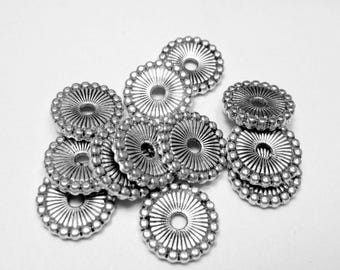 10mm Silver spacer Beads 36 flat round disc jewelry making supply  nickel free lead free HP718 (S7)