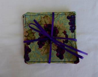 Handmade coasters, wine grapes, mug rug