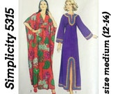 70s CAFTAN Pattern, Simplicity 5315, Medium 12-14 & One Size Robes, Muu Muu, Hippie Dress, Womens Tunic, Vintage Sewing Pattern, UNCUT!
