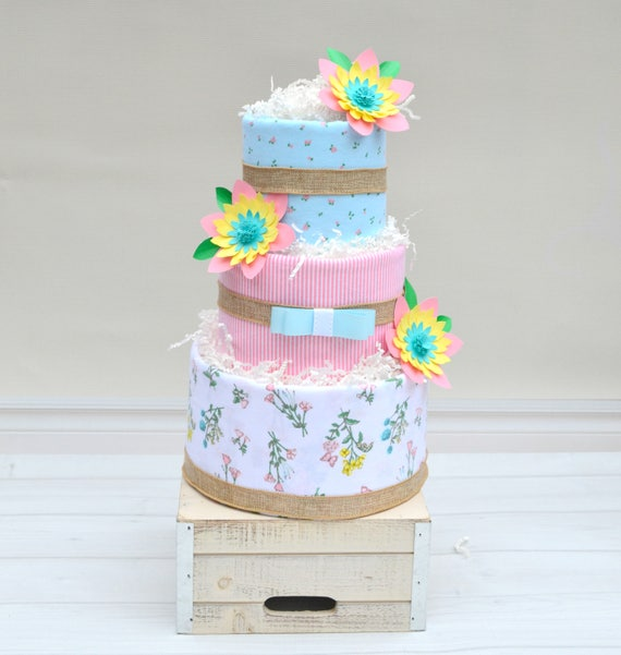 Paper Flower Baby Shower Cake, Shabby Chic Baby Shower, Burlap Baby Shower, Shabby Chic Diaper Cake, Girl Diaper Cake, Girl Baby Gift
