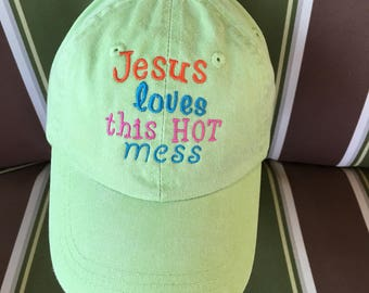 Jesus loves this Hot mess Youth Ball Cap Kids Baseball Cap kids Hat 10 Colors