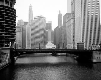 Chicago street bridge photo, fine art, downtown chicago, dearborn black and white, home decor, city photograph, urban buildings modern room