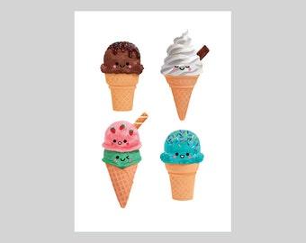 Ice Cream Collection, A5 Print, Original Illustration, Wall Decor