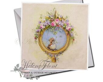 Carte Reproduction peinture Impression Print  - Bébé moineau Couronne Naissance , Guirlande fleurs Campagne chic Rose © Hélène Flont Designs