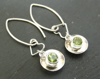 Domed Sterling Silver Heart and Peridot Earrings