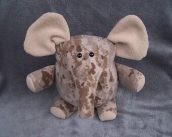 Desert Camo Elephant Handmade Toy Plushie