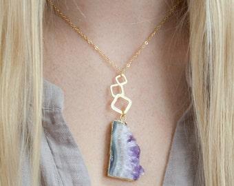 Amethyst Necklace,Crystal Necklace,Druzy Necklace,Amethyst Slice Necklace, Amethyst,Raw Stone Necklace,Gemstone Necklace,Gift for Her