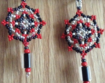 Mandala Style Beaded Native American Earrings