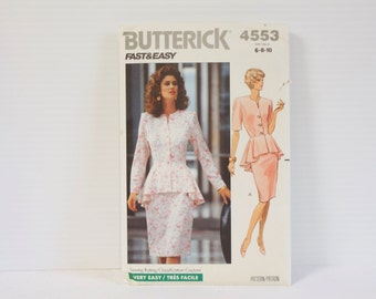 Vintage Misses' Petite Top and Skirt Butterick 4553 Sewing Pattern size 6-8-10