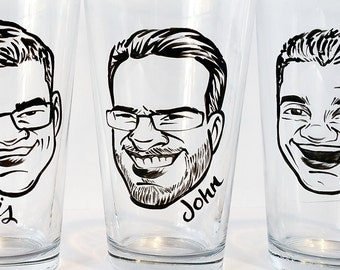 Custom Groomsmen Gift - Will You Be My Groomsman - Vintage Style Caricature Beer Glass-  - Groomsman Gift - Best Man Gift - Man Gift