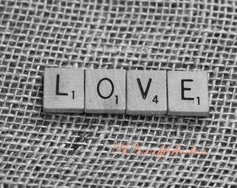 Scrabble tiles, LOVE, Burlap, wall art