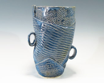Two Handle Abstract Pottery Vase Hand Built Ceramic Vase Whimsical Textured Ceramic Vase Pottery Vase Stoneware Vase Ceramic Patchwork Vase