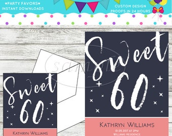 60th Birthday Party Invitations 5 x7 Printable Digital PDF