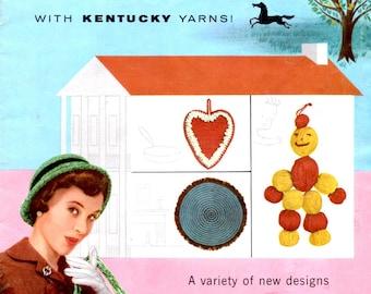 Needlework Charm With Kentucky Yarns Knit Crochet Hard Potholder Hat Purse Rug Sweater Gloves Scarf Vintage 1950s Craft Pattern Leaflet 4