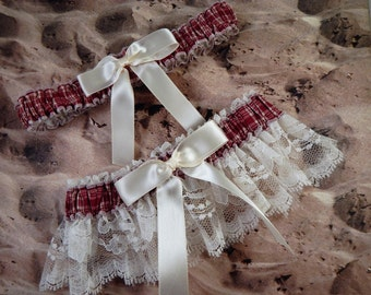 Burgundy Red Plaid Ivory Lace Wedding Bridal Garter Toss Set