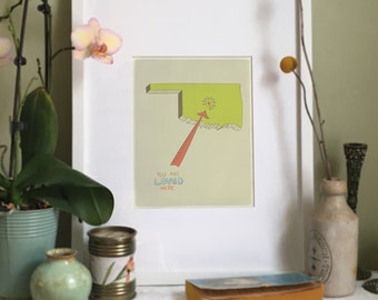 You Are Loved Here - OKLAHOMA personalized map ( 8x10 Fine Art Print )