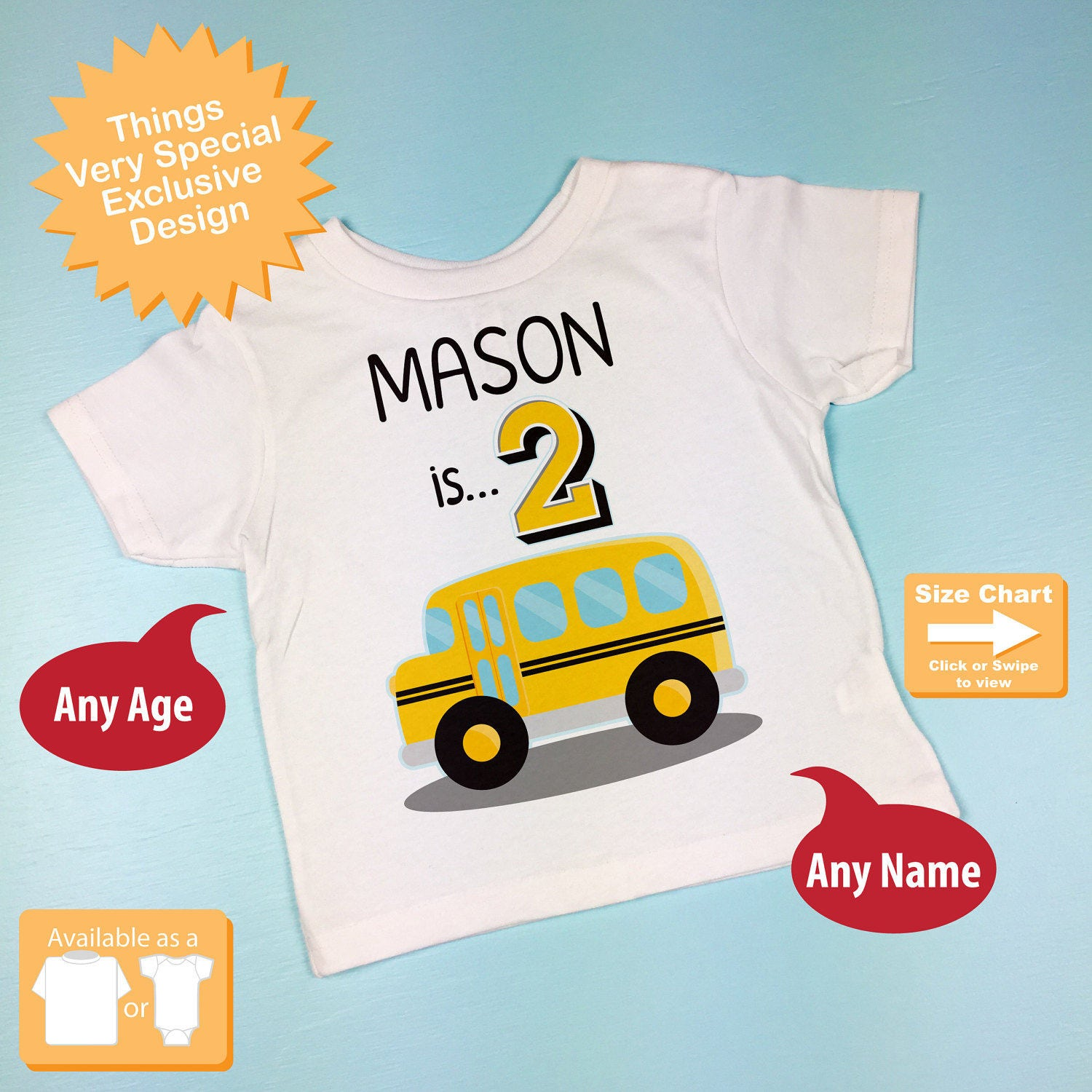 2nd Birthday School Bus Shirt