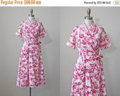 ON SALE 1940s Wrap - Vintage 40s House Dress - Red Pink Rose Print Cotton Housedress M - Lipstick Kisses Dress
