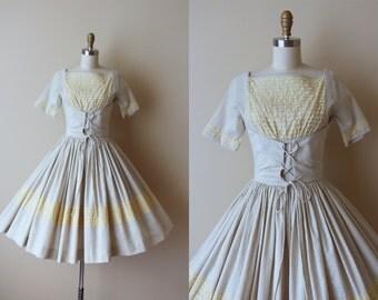 50s Dress - Vintage 1950s Dress - Neutral Bone Cotton Vanilla Lace Lace Up Corset Dress XS S - Beer Garden Dress