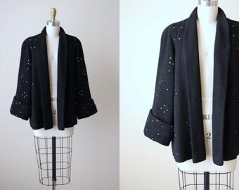 1950s Swing Coat - Vintage 50s Black Boucle Wool Box Coat w V Details and Rhinestones M L - Night Sky Coat