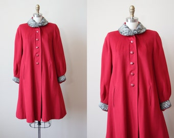 1940s Coat - Vintage 40s Swing Coat - Cherry Red Wool Silver Persian Lamb Fur w Moon Buttons M - Moonrise Kingdom