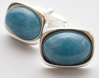 Blue cufflinks. Cuff Links. Aquamarine Blue. Rectangular cufflinks. Gemstone.  Aquamarine Blue Cufflinks. Gifts For Men.  Groom Cufflinks.