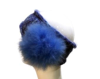 Knit Headband with Fur in Blue, Wool Headband cobalt blur with Alpaca Fur Pompom, Warm Headband bright blue with fur, Fur and Wool Headwrap
