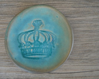 "Ring dish  English Crown Caribbean Blue glaze - 3"" jewelry dish lovely calming romantic coastal turquoise"