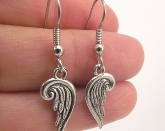 Tiny Silver Guardian Angel Wing Earrings, Antiqued SIlver Wings, Small Wing Jewelry, Gift under 20