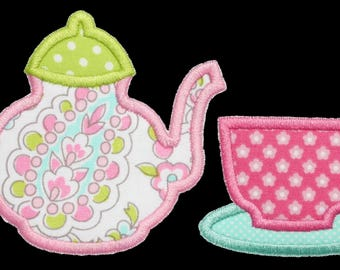 949 Teacup and Teapot Machine Embroidery Applique Design