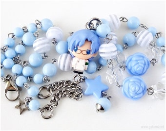 Lloyd Asplund Rosary Necklace, Anime Characters, Character Necklace, Code Geass, Powder Blue, White, Stainless Steel