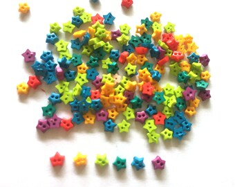 200 pcs tiny star buttons 4mm mix colors red yellow 2 greens blue purple