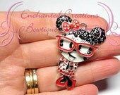 "2"" Nerdy Minnie With Red Bow and Glasses Inspired  Charm, Rockabilly Polka Dot Chunky Pendant, Keychain, Bookmark, Zipper Pull, Purse Charm"