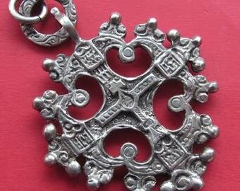 Antique Italian Florentine Cross 800 Silver Religious Pendant Jewelry   SS521