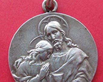 Antique Jesus Communion Religious Medal French Silver Catholic Pendant  SS61
