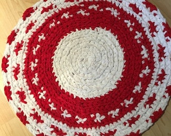 Ethnic Red And White Rug