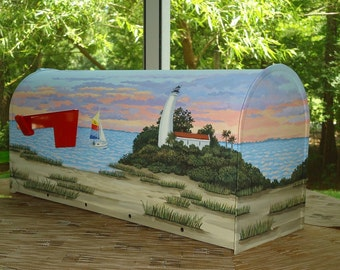 Hand Painted,  Beach Mailbox of Sailboat and Sunset, A great House warming gift,  Beach Decor