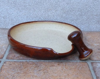 Pestle and mortar spice herb grinder stoneware hand thrown pottery handmade ceramic