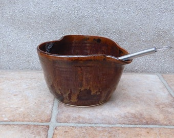Egg whisking bowl hand thrown stoneware batter mixing salad dressing drizzle pouring with a whisk