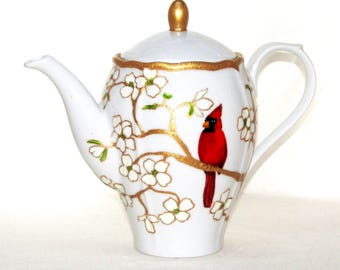 Red Cardinal Porcelain Hand Painted Teapot Serving Accessory The French Chefs™ Maria Coffeepot