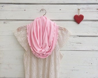 Pink Infinity Scarf, Pale Pink Scarf, Light Pink Scarf, Bridesmaid Gift, Pink Scarf, Gift for Wife, Gift for Her