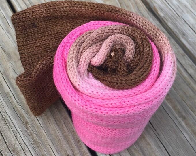 hand dyed sock blank OOAK single strand sock yarn blank self striping 463 yards superwash merino nylon swm pink chocolate brown rose
