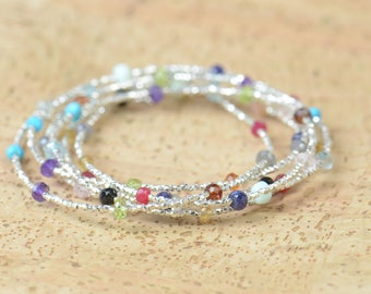 Semiprecious Gemstones  and sterling silver beads bracelet - necklace
