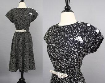 vintage 80s Black and White Polka Dot Secretary Dress / 1980s Whirlaway Funky Fun Ditsy Midi Day Dress / Large - Extra Large