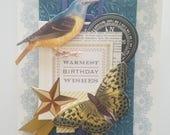 "Handmade Birthday Day Card - 5"" x 7"" -Anna Griffin greeting card"