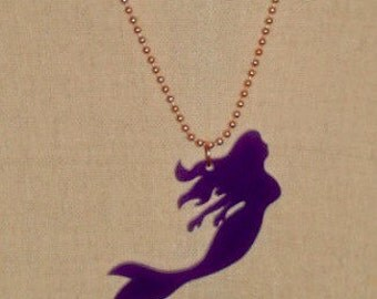 Purple Acrylic Mermaid Necklace, Lasercut Acrylic, Womens Gift, Gift for Her